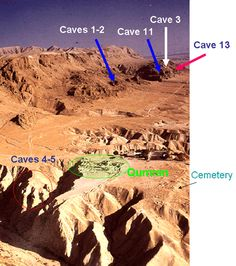 Qumran Caves Map   Map of the caves at Qumran where the Dead Sea Scrolls were found