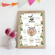 Affiche personnalisées premier anniversaire, cadre, photo, bébé, panda Room Posters, Diy Photo, Baby Prints, Baby Birthday, Baby Room, First Birthdays, Frame, Roman, Birthday Photo Frame