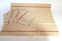 5Vintage French Kitchen Towels or Torchons with Red Stripes on
