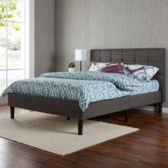 Best Platform Beds Zinus Upholstered Square Stitched Platform Bed with Wooden Slats