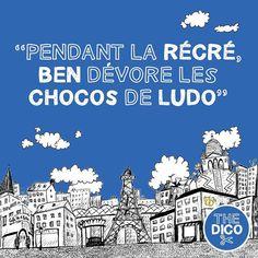 """""""Pendant la récré Ben dévore les chocos de Ludo""""  What on earth is going on?  #apocopes #ledico #thedico #FLE # #récré #learnfrench"""