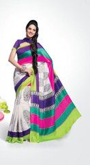 Off white and purple colour #bhagalpuri silk material #saree #sari is a colourful choice to wear on #parties.