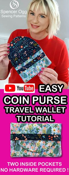 Fantastic 15 Sewing tutorials projects are readily available on our internet site. Take a look and you will not be sorry you did. Wallet Sewing Pattern, Coin Purse Pattern, Coin Purse Tutorial, Wallet Tutorial, Sewing Projects For Beginners, Sewing Tutorials, Purse Patterns Free, Handbag Patterns, Free Pattern