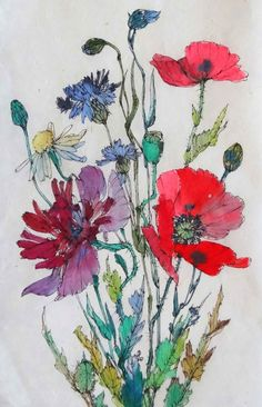Poppies & corn flowers