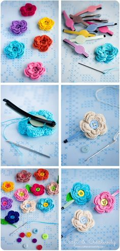 DIY: crochet flowers hair pins: so cute now I just a baby girl to put them on lol by denise.su