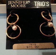 Vintage signed Jennifer Moore two pair golden tone pearl pierced earrings in Earrings | eBay