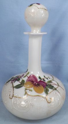 Victorian PURPLE PANSY FLOWERS MILK GLASS COLOGNE BOTTLE # 2 Scroll Embossed WOW | eBay