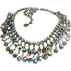 Weiss Bezel Set Grey Crystal Dangle Necklace - featured in today's Ruby Lane Monthly Find newsletter!