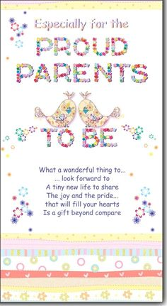 personalised greeting cards  Parents to Be Loving Words
