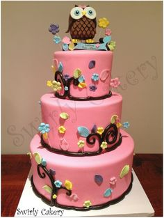 Pink and Brown Owl baby shower cake Coconut cake w/pineapple rum filling and Banana cake w/chocolate ganache filling
