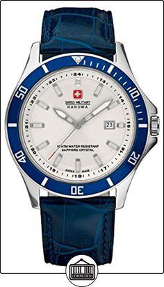 Swiss Military Hanowa - Reloj analógico de cuarzo para hombre con correa de piel, color azul de  ✿ Relojes para hombre - (Gama media/alta) ✿