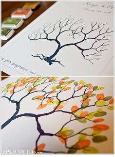 Seriously considering this fingerprint tree instead of a guest book for our reception. Might even have guests sign their name by their print.