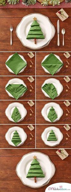 DIY Tischdeko Ideen zu Weihnachten, Servietten Origami Weihnachtsbaum, Falttechnik für Servietten