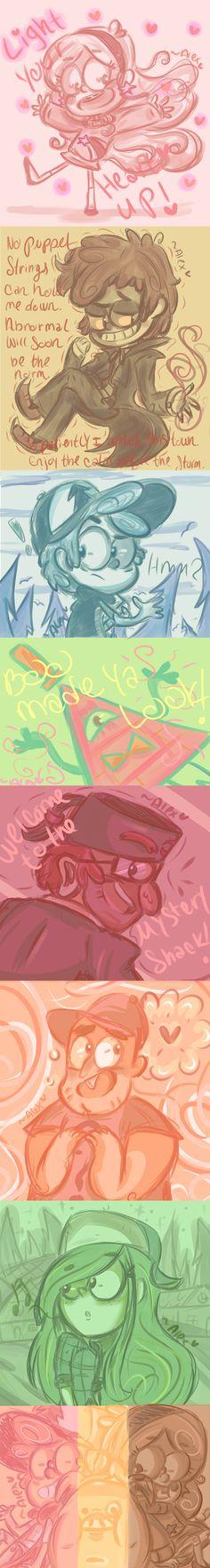 Gravity Falls flavor palettes by chibiirose on DeviantArt Gravity Falls Fan Art, Gravity Falls Comics, Dipper Y Mabel, Desenhos Gravity Falls, Bipper, Reverse Falls, Billdip, Stay Weird, Cool Cartoons