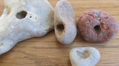 Nature Wonder Holey Stone With Heart Shaped Hole - 4 Beautiful Holey Stones with Natural Holes by LonelyBeach on Etsy