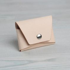 6a97eff7335 Natural Leather Credit Card Holder With Snap, Folded Minimalist Wallet Mens  Coin Purse, Minimalist