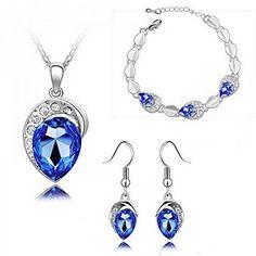 Women Cheap Gift Royalblue Jewelry Set Pretty Necklace Bracelet Earrings  #HSG