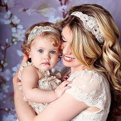 2 Pcs Stunning Rhinestone Mother And Baby Headband Elastic Baby Girl Rhinestone