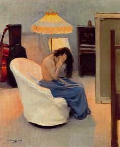 When we decorate, what is our imagination up to? For whom, for when, for what do we create circumstances? Is she despairing of the title he's giving this painting? Between Two Lights Ramon Casas i Carbó Spanish Painters, Spanish Artists, Ramones, Art Espagnole, Barcelona Street, Modernisme, Illustration Art, Illustrations, Figure Painting