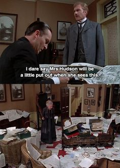 Sherlock, Watson and Mrs. Hudson in the Granada series. Sherlock Bbc, Jeremy Brett Sherlock Holmes, Detective Sherlock Holmes, Sherlock Fandom, Sherlock Quotes, David Burke, Mrs Hudson, Arthur Conan Doyle, 221b Baker Street