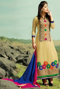 427558: Beige and Brown color family unstitched Party Wear Salwar Kameez .