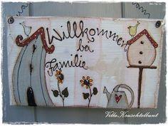*Sehr schönes  Türschild*  +Hellgrün mit weißen Streifen,2 Vogelhäusle,Gießkanne,Sonnenblumen Vögel & Bienchen+