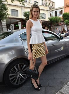 Actress Vanessa Hessler chauffeured to the Taormina Film Festival in a Maserati Ghibli.