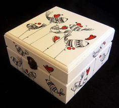 Cajas ilustradas a mano una a una.... Acrílico sobre madera…