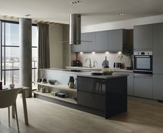 The Clerkenwell Super Matt Slate Grey kitchen features grey slab doors with integrated linear pull handle. Gray Tile Bathroom Floor, Howdens Kitchens, Kitchen Collection, Home Kitchens, Kitchen Suppliers, Kitchen Units, Kitchen Fittings, Kitchen Design, Modern Bathroom Tile