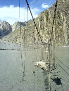 1. Hunza River, Pakistan.  The bridge is situated near the village of Hussaini in northern Pakistan, and the passage across is said to be truly hair-raising on windy days. Just as disconcerting is the ruined bridge which lies parallel to the one in current use.