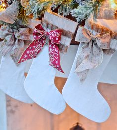 We love these DIY ideas for a beautiful Christmas mantel by Chelsea Curtis of Housewife2Hostess. She made these stockings out of a canvas drop cloth with burlap accents... so easy! See more on The Home Depot Blog. || @Housewife2Host Christmas Lights Garland, Christmas Ornaments To Make, Christmas Mantels, Christmas Decorations For The Home, Cheap Christmas, Holiday Decor, Holiday Style, Seasonal Decor, Christmas Stuff