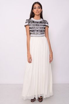 Image for Black And White Lace Embellished Maxi Dress