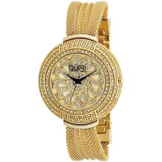 This exceptional, Burgi women's, dazzling, crystal, quartz watch is perfect for any occasion. The bezel features genuine crystals with a sunray and flower pattern dial. Case: Base metal, goldtone, rou