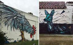 Geometric Animal Street Art By Dzia Brings Life To Abandoned Urban Areas | Bored Panda