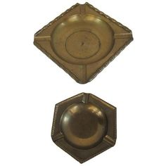 Brass Ashtrays- a Pair ($25) ❤ liked on Polyvore featuring home, home decor, ashtrays, brass ashtray, vintage home decor, vintage ashtrays, brass home accessories and vintage ash tray