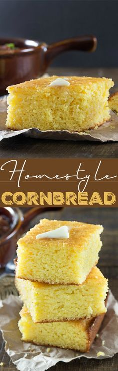 Homestyle Cornbread | This homestyle cornbread is a perfect mix of savory southern cornbread and sweet northern cornbread... fluffy and soft, it's the only recipe you'll need! | http://thechunkychef.com