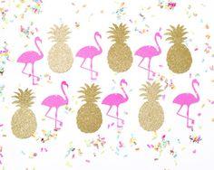 Flamingo & piña brillo Banner oro caliente rosa Garland  Luau   Etsy
