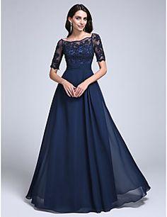 Formeller Abend / Militär Ball Kleid - Vintage inspiriert / Transparent Eng anliegend Schulterfrei Boden-Länge Chiffon / Tüll mit
