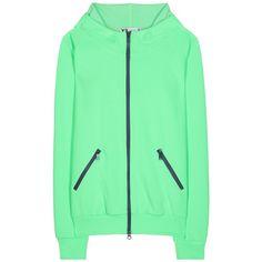 Y-3 Cotton-Blend Hoodie ($140) ❤ liked on Polyvore featuring tops, hoodies, green, jackets, y3 hoodie, green hoodie, green hooded sweatshirt, green top y hooded sweatshirt