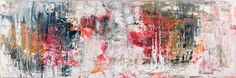 Firestorm I 40x120 cm 1.499 dkk - Art by Lønfeldt - original abstract painting, modern textured art, colorful
