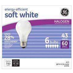 43 Watt Soft White - Replaces 60 Watt Light Bulb 6 Pack