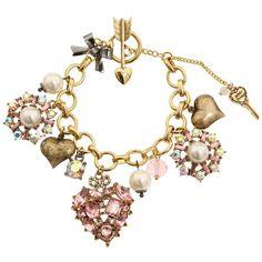 Betsey Johnson Cupid's Arrow Pave Heart Toggle Bracelet ($53) ❤ liked on Polyvore