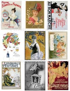Vintage French Perfume Label ATC Backgrounds Tags Cards Scrapbooking