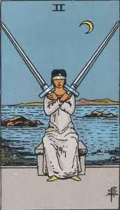Items similar to Mature Religion Two of Swords Occult Divination Rider Minor Arcana Tarot Printed Art Sew on Patch-es Free S/H MBG on Etsy Tarot Gratis, Taro Do Amor, Two Of Swords, Rider Waite Tarot Cards, Tarot Waite, Tarot Significado, Owl Wings, Tarot Card Meanings, Beltane
