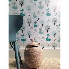 Kinderkamer vosjes en boompjes behang | Roodborstje