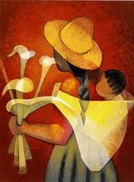 The Arum Lily Seller by Quispejo Art And Illustration, Art Péruvien, Mexican Paintings, Peruvian Art, Mexico Art, Spirited Art, Mexican Folk Art, Naive Art, Black Art