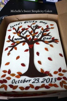 "A very special family tree cake for a family adopting a foster care child. The Gotcha Day is the day the family ""Gotcha"" forever. 1/2 sheet cake with marshmallow fondant tree and leaf accents."