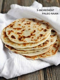 This 3 Ingredient Paleo Naan is so versatile you can pair it with almost anything or eat on its own. You can also make Paleo crepes with this recipe! Tea Recipes, Gluten Free Recipes, Indian Food Recipes, Low Carb Recipes, Whole Food Recipes, Cooking Recipes, Healthy Recipes, Lunch Recipes, Paleo Indian Food