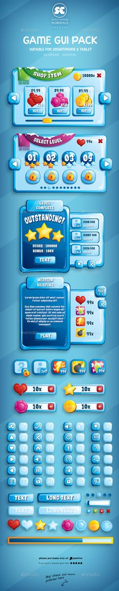Ice Game GUI — Vector EPS #casual #cold • Available here → https://graphicriver.net/item/ice-game-gui/10587595?ref=pxcr