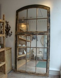 65 ideas for wall mirror diy frame old windows French Windows, Old Windows, Window Mirror, Diy Mirror, Window Frames, Wall Mirror, Recycled Decor, Repurposed, Garden Mirrors